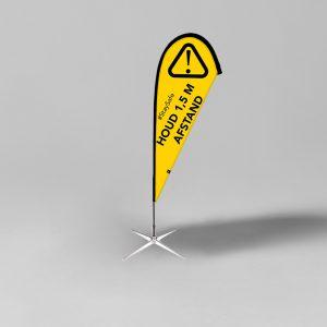 Beachflag 1,5 meter afstand houden geel/zwart - Corona Preventie - Social Distancing