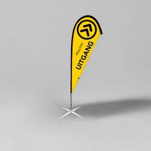 Beachflag Uitgang Geel/Zwart - Social distancing - Corona Preventie