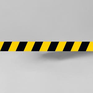 Geel / zwarte markeringsticker voor op de vloer 49cm x 5cm