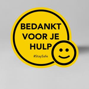 Social Distancing vloersticker, bedankt voor je hulp #StaySafe.
