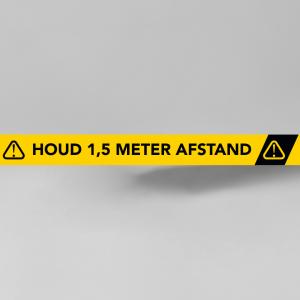 Opvallende rechthoekige vloersticker 147cm x 5cm - 1,5 meter afstand houden.