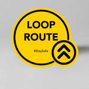 Looproute raam,- en vloersticker, social distancing