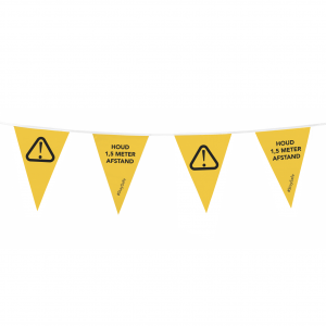 Vlaggenlijn social distancing - houd 1,5 meter afstand - geel/zwart - enkelzijdig bedrukt.