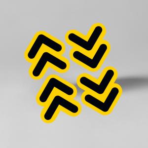 Pijlen contour vloerstickerset 9,5cm x 10,5cm, social distancing