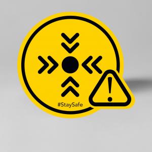 Trefpunt vloersticker geel/zwart